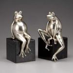 Casa Padrino Luxus Bücherstützen Frösche aus Bronze auf Marmorsockel - Bücherstütze - Book End