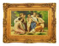 Handgemaltes Barock Öl Gemälde Engelsbildniss 6 Gold Prunk Rahmen 130 x 100 x 10 cm - Massives Material