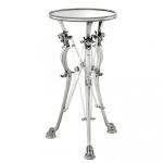 Casa Padrino Luxus Barock Beistelltisch Messing Vintage Silber Finish 41 x H 81 cm - Tisch Möbel