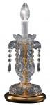 Casa Padrino Barockstil Kristall Tischleuchte Messing / Gold Ø 15 x H. 33 cm - Barock Tischlampe
