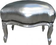 Barock Sitzhocker Silber / Silber Medium