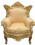 "Casa Padrino Barock Sessel "" Al Capone"" Mod 2 Gold Blumen Muster / Gold Möbel Antik Stil"