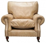 Casa Padrino Luxus Echtleder Sessel Vintage Beige 106 x 105 x H. 93 cm - Art Deco Möbel