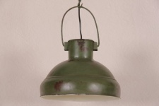 Casa Padrino Hängeleuchte Deckenleuchte Antik Stil Grün Industrial Vintage Design 33cm Durchmesser - Industrie Lampe Hänge Leuchte