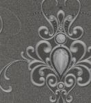 Harald Glööckler Designer Barock Vliestapete 58560 - Ornamente mit Strasssteinen - Grau / Anthrazit
