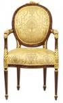 Casa Padrino Luxus Barock Esszimmer Stuhl mit Armlehnen Ludwig XV Gold Muster / Mahagoni Braun - Möbel