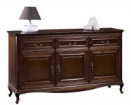 Casa Padrino Luxus Jugendstil Kommode mit 3 Türen und 3 Schubladen Dunkelbraun 166, 1 x 45, 6 x H. 95 cm - Luxus Qualität