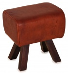 Casa Padrino Luxus Hocker Braun / Dunkelbraun 44 x 32 x H. 45 cm - Sitzhocker in Turnbock Optik