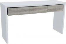 Casa Padrino Konsole Weiß / Naturfarben 154 x 45 x H. 85 cm - Handgerfertigte Lack-Konsole mit 3 Holzschubladen