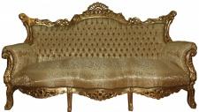 Casa Padrino Barock Sofa 3er Master Gold Muster /Gold- Antik Möbel
