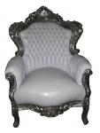 Casa Padrino Barock Sessel King Weiß / Silber 85 x 85 x H. 120 cm - Antik Stil Sessel