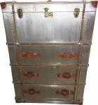 Casa Padrino Art Deco Vintage Koffer Schrank Kommode Aluminium / Leder - Vintage Look Flieger Kommode