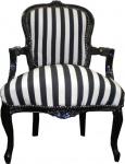 Casa Padrino Barock Salon Stuhl Schwarz / Weiß Streifen / Schwarz - Möbel gestreift
