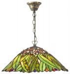 Casa Padrino Tiffany Deckenleuchte / Hängeleuchte mit Kette Mosaik Glas Bananblätter Durchmesser 40 cm - Leuchte Lampe