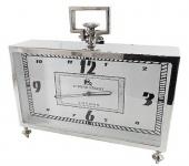 Casa Padrino Luxus Tischuhr Silber 36 x 9 x H. 30 cm - Wohnzimmer Deko Accessoires