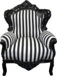 Casa Padrino Barock Sessel King Schwarz / Weiß Streifen / Schwarz - Antik Stil