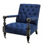 Casa Padrino Luxus Barock Sessel Royalblau / Schwarz Klavierlack - Lounge Sessel - Luxury Collection - Art Deco - Belle Epoche