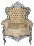 "Casa Padrino Barock Sessel "" King"" Mod 2 Gold /Beige Streifen/ Silber- Möbel Antik Stil"