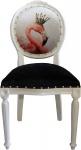 Casa Padrino Barock Luxus Esszimmer Stuhl ohne Armlehnen Flamingos mit Krone und mit Bling Bling Glitzersteinen - Designer Stuhl - Limited Edition