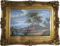 Handgemaltes Barock Öl Gemälde Gold Prunk Rahmen Landschaft II 130 x 100 x 10 cm - Massives Material