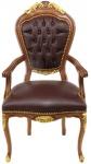 Casa Padrino Barock Luxus Echtleder Esszimmerstuhl mit Armlehnen Braun Mahagoni - Antik Stil - Möbel