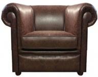 Casa Padrino Echtleder Wohnzimmer Sessel Dunkelbraun 110 x 90 x H. 80 cm - Luxus Wohnzimmermöbel