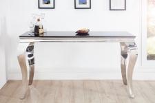 Casa Padrino Designer Konsole B144cm x H75cm x T54cm Schwarz / Silber - Luxus Konsolentisch
