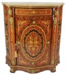 Casa Padrino Empire Kommoden Schrank mit Marmorplatte Mahagoni Intarsien - Barock Möbel Kommode