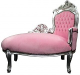 Casa Padrino Barock Kinder Chaiselongue Rosa/Silver Mod 2 - Recamiere Barock Möbel