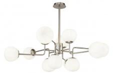 Casa Padrino Kronleuchter Silber / Weiß Ø 110 x H. 42, 7 cm - Moderner Kronleuchter mit runden Mattglas Lampenschirmen