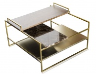 Casa Padrino Luxus Couchtisch Gold 60 x 60 x H. 36, 5 cm - Designer Wohnzimmertisch