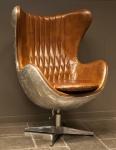 Casa Padrino Art Deco Egg Chair Drehstuhl Sessel Aluminium / Echt Leder Braun - Club Sessel - Lounge Sessel - Vintage Airplane Möbel