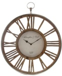 Casa Padrino Luxus Wanduhr im Design einer antiken Taschenuhr Silber / Naturfarben Ø 50 cm - Dekorative runde Uhr mit einem Ziffernblatt aus unbehandeltem Holz