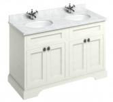 Casa Padrino Doppel Waschschrank mit Marmorplatte und 4 Türen - Antik Stil Waschtisch