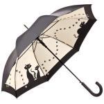 MySchirm Designer Regenschirm mit Schwarzen Katzen in elegantem Schwarz- Eleganter Stockschirm - Luxus Design - Automatikschirm