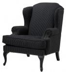 Casa Padrino Sessel schwarz mit weißen Nadelstreifen 81 x 104 x H. 104 cm - Luxus Kollektion