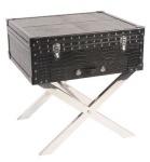 Casa Padrino Koffer Konsole Echtleder schwarz in Croco Optik 50 x 50 x 45 cm - Nachttisch Nachtkonsole
