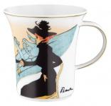 """Handgearbeiteter Becher mit Henkel aus Porzellan mit einem Motiv von T. Lautrec """" Divan Japonais"""" 0, 25 Ltr. - feinste Qualität aus der Tettau Porzellanfabrik"""