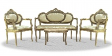 Casa Padrino Barock Salon Set Antik Gold - Luxus Möbel