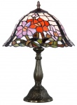 Casa Padrino Tiffany Tischleuchte Blumen Mehrfarbig Ø 31 x H. 46 cm - Handgefertigte Luxus Tischlampe