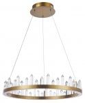 Casa Padrino LED Hängeleuchte mit messingfarbenem Metallrahmen und Kristallglaszacken Ø 60 x H. 10, 4 cm - Wohnzimmermöbel