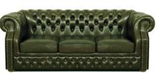 Casa Padrino Luxus Echtleder 3er Sofa Dunkelgrün 210 x 90 x H. 80 cm - Chesterfield Sofa