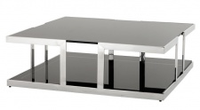 Casa Padrino Luxus Art Deco Designer Couchtisch Edelstahl poliert mit Rauchglas 100 x 100 cm - Luxus Kollektion