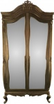 Casa Padrino Barock Kleiderschrank Gold B 110 x H 230 cm Schlafzimmer Schrank - Antik Stil