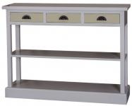 Casa Padrino Landhausstil Küchenkonsole Grau / Grün 120 x 35 x H. 89 cm - Landhausstil Konsolentisch mit 3 Schubladen