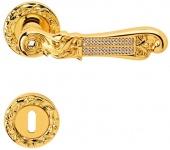 Casa Padrino Luxus Barock Türklinken Set Gold 14, 5 x H. 5, 3 cm - Türgriff Set mit Swarovski Kristallglas