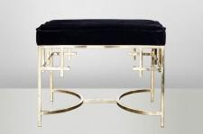 Casa Padrino Art Deco Luxus Hocker Edelstahl Schwarz / Gold - Vintage Jugendstil Möbel