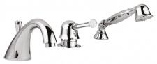Luxus Badewannen 3-Loch Wannenmischer Set mit Swarovski Kristallglas Silber - Luxus Badezimmer Badewannenarmaturen Made in Italy