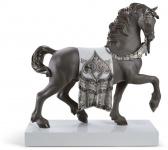 Casa Padrino Luxus Porzellan Königliches Ross Grau / Silber 40 x H. 42 cm - Handgefertigtes Luxus Deko Pferd
