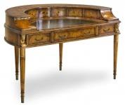 Casa Padrino Luxus Jugendstil Mahagoni Schreibtisch mit 10 Schubladen Braun / Antik Gold 145 x 80 x H. 90 cm - Luxus Qualität